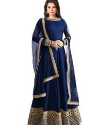 Buy Navy blue embroidered bhagalpuri silk salwar with dupatta semi-stitched-salwar-suit online