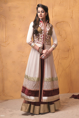 Off White & Maroon Color Designer Suit On Semi Pure Georgette Fabric
