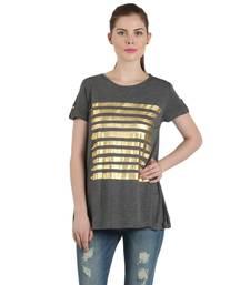 Buy Women grey viscose printed t shirt party-top online