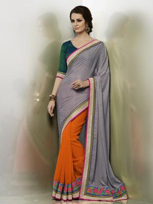 Jacquard grey Designer Saree