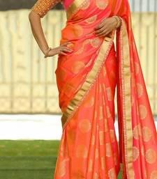 Buy Orange printed silk saree with blouse silk-saree online
