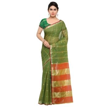 Green maheshwari saree with blouse