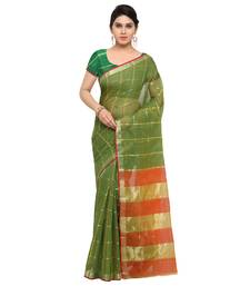 Buy Green maheshwari saree with blouse maheshwari-saree online