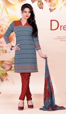 blue Crepe Dress material