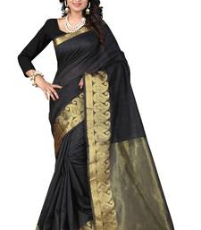 Buy Black printed tussar silk saree with blouse Woman online