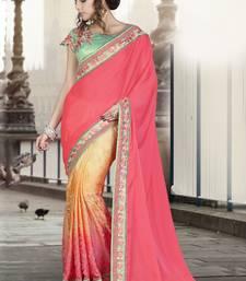Buy Dark pink embroidered silk saree with blouse wedding-saree online