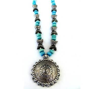Sun Pendant necklace: Blue/013Candy