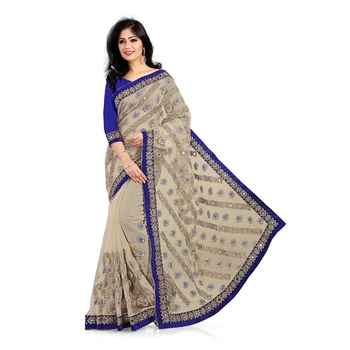 beige embroidered net-sarees saree with blouse