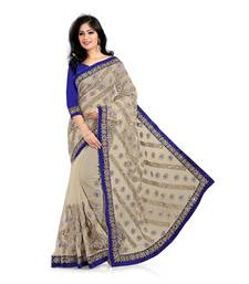 Buy beige embroidered net-sarees saree with blouse net-saree online