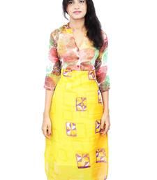 Buy Yellow printed stitched chiffon-kurtis chiffon-kurtis online