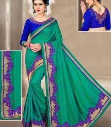 Buy Teal hand woven silk saree with blouse silk-saree online