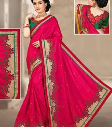 Buy Dark rani pink hand woven silk saree with blouse silk-saree online