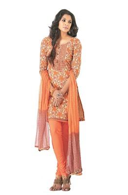 Ethnic Basket Cotton Orange Colored Dress materials.