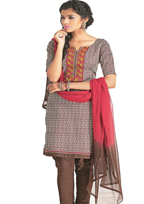Ethnic Basket Cotton Coffee Colored Dress Materials.