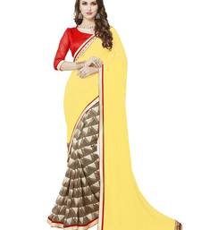Buy Yellow printed georgette saree with blouse below-1500 online