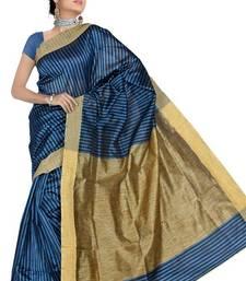 Buy KHICHA PATTI SAREE - BLUE cotton-saree online