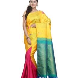 Buy Yellow pure silk saree with blouse kanchipuram-silk-saree online