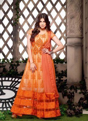 Orange Color Georgette & Net Fabric Salwar Suit