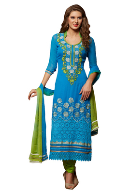 Blue Embroidered Georgette Unstiched