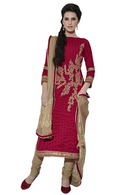 Red Embroidered Cotton Unstiched