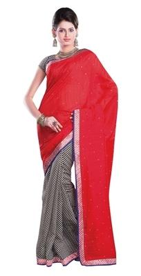 Aesha Designer Red Printed Silk Saree with matching blouse