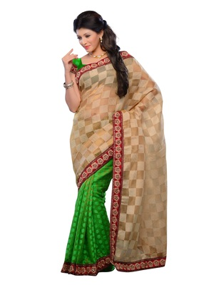 Beige Color Jacquard Bollywood Style Party Wear Designer Saree