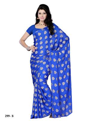 Blue Color Jacquard CasualOffice Wear Fancy Saree