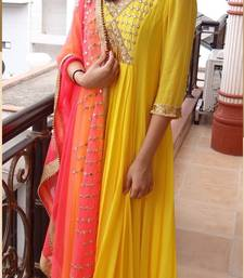 Buy Yellow embroidered faux georgette salwar with dupatta semi-stitched-salwar-suit online