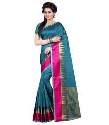 Buy Light blue printed polycotton saree with blouse cotton-saree online