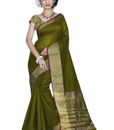 Buy Mehendi hand woven cotton saree with blouse cotton-saree online