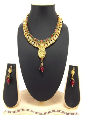 temple polki multicolor cz gold plated necklace set p59