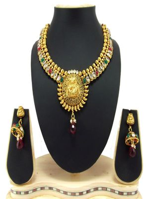 temple sun style kundan gold plated necklace set p60