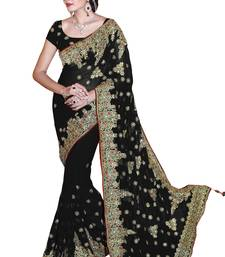 Buy Black embroidered faux georgette saree with blouse wedding-saree online