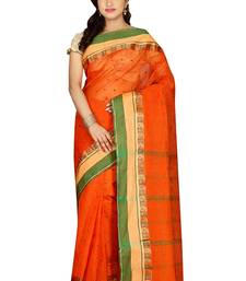 Buy Orange hand woven cotton saree with blouse handloom-saree online
