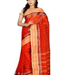 Buy Rust hand woven cotton saree with blouse handloom-saree online
