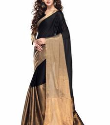 Buy Black printed faux kora saree with blouse kota-silk-saree online