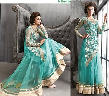 Light Green Net Georgette Designer salwar Kameez