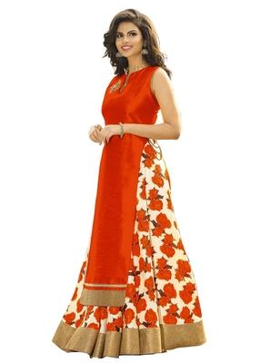 Orange printed cotton silk unstitched lehenga