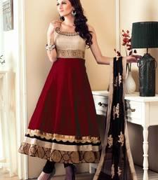 Buy Maroon embroidered  satin salwar with dupatta party-wear-salwar-kameez online
