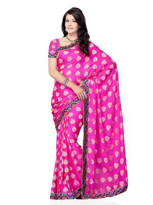 Dark Pink Color Jacquard CasualOffice Wear Fancy Saree