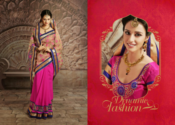 Gorgeous Beige And  Pink Embroidered Saree