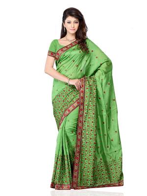 Green Color Art Silk Bollywood Party Wear Designer Saree