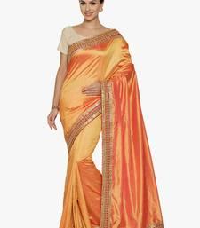 Buy orange plain silk saree with blouse silk-saree online