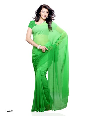 Green Color Georgette FestivalParty Wear Designer Saree