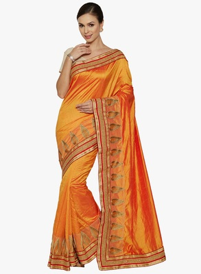 yellow embroidered silk saree with blouse