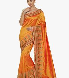 Buy yellow embroidered silk saree with blouse silk-saree online