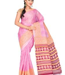 Buy Pink printed polycotton saree with blouse below-500 online