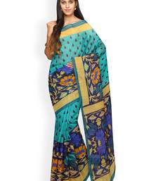 Buy Green printed polycotton saree with blouse below-500 online