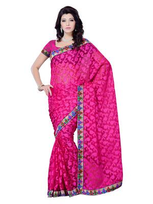Pink Color Jacquard PartyFestival Wear Saree