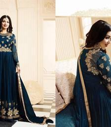 Buy Dark green multi resham work faux woolen blends salwar with dupatta salwar-kameez online